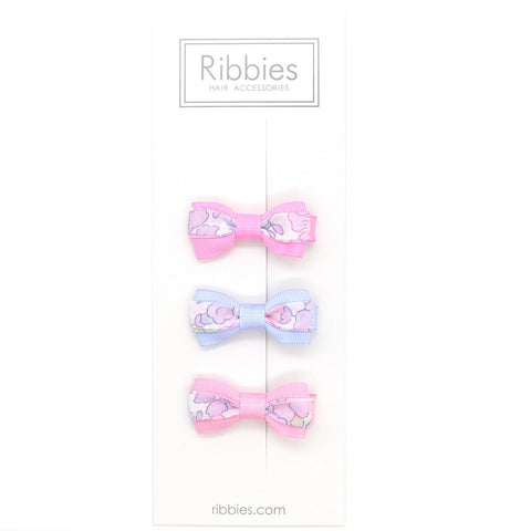 Set of 3 Liberty Bows - Betsy Pastel Pink