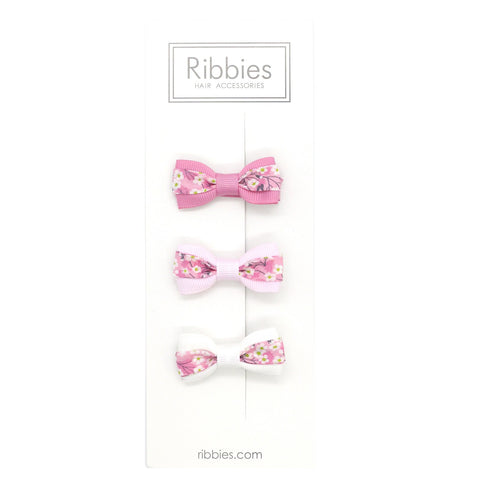 Set of 3 Liberty Bows - Mitsi Pink