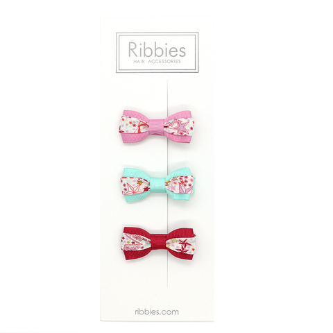 Set of 3 Liberty Bows - Adelajda Red