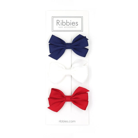 Set of 3 Medium Triple Bows - Navy, White & Red
