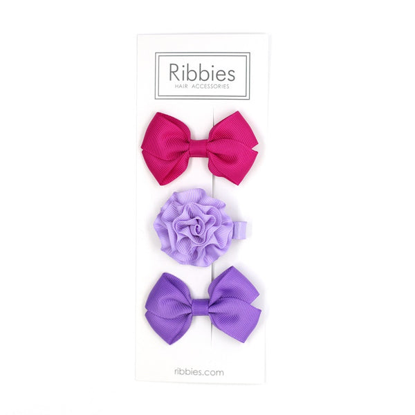 Set of 3 - Purple & Hot Pink
