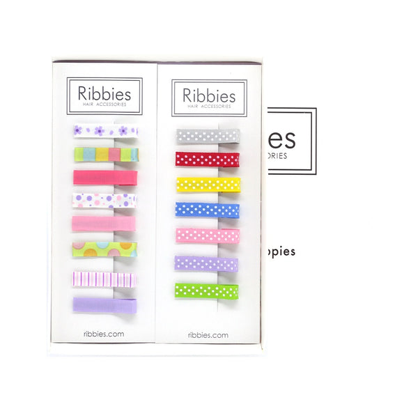 Gift Box: 1 Hair Clips Set of 8 - Eliza + 1 Simple Clip Set Swiss Dots
