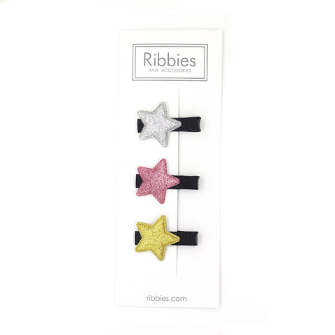Sparkly Stars on Black Hair Clips - Pink and Gold - Set of 3