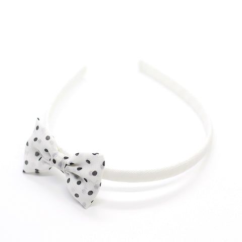 Polkadot Bow Headband - White on White