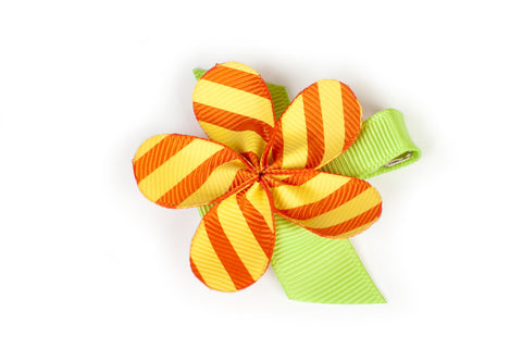 Allie Yellow Stripe Flower Hair Clip