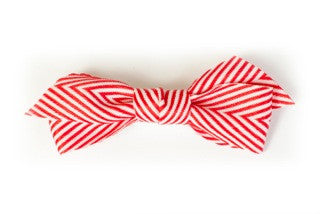 Thin Chevron Hairbow Red