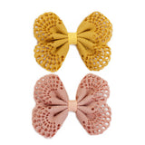 Eyelet Bow Set Yellow and Rose