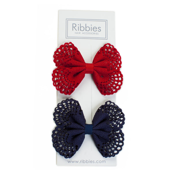 Eyelet Bow Set Navy Red