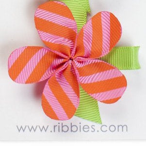 Allie Bright Diagonal Stripes Flower Hair Clip