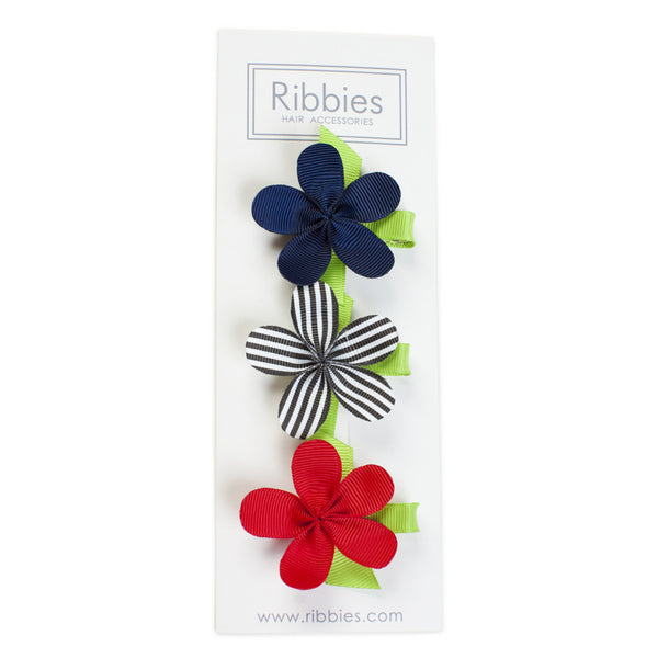 Flower Hairclips Set of 3 Red White and Navy