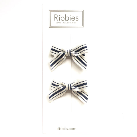 Lauren Bow Pair - Navy & White Stripes - B