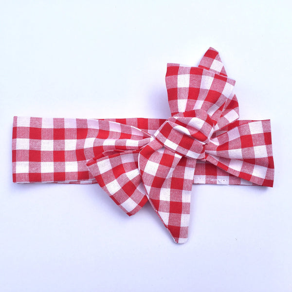 Gingham Fabric Headwrap - Red