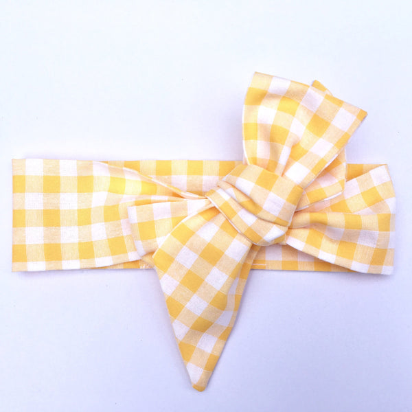 Gingham Fabric Headwrap - Yellow