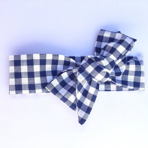 Gingham Fabric Headwrap - Navy Blue