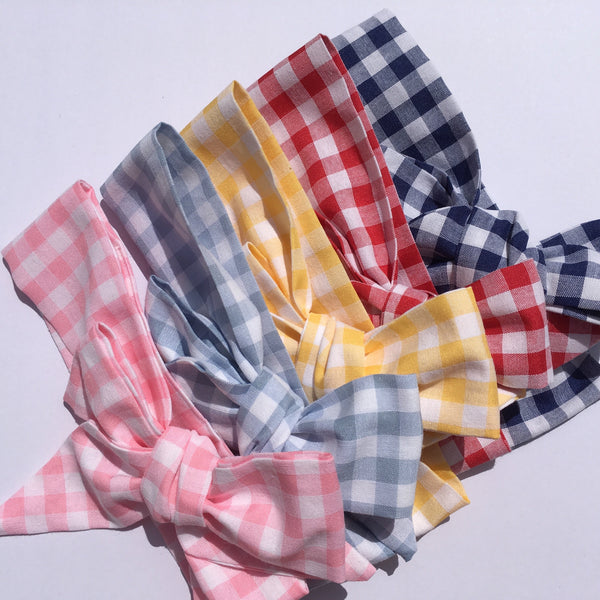 Gingham Fabric Headwrap - Pastel Pink