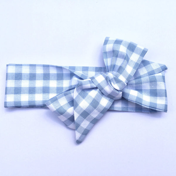 Gingham Fabric Headwrap - Pastel Blue