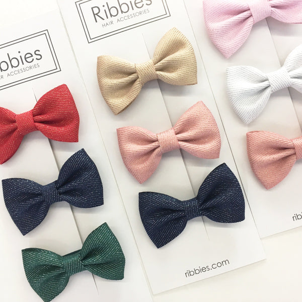 Set Of 3 Sparkly Bow Tie Hair Clips - Pastel