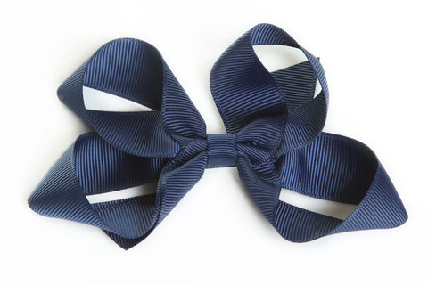 Large Navy Hair Bow