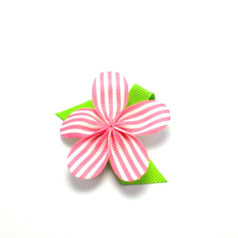 Allie Pink and White Stripe Petal Hair Clip
