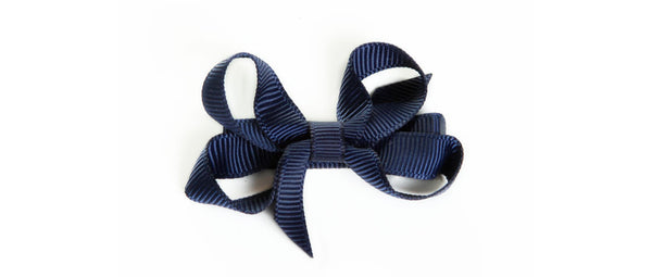 Small Navy Hair Bow