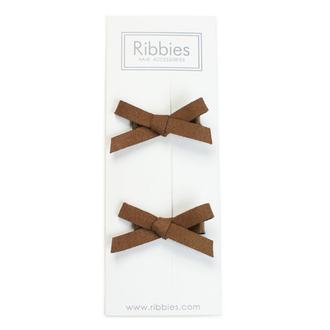 Suede Schoolgirl Bow Pair in Brown