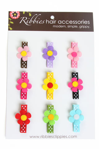 Flower Hair Clip Set of 9