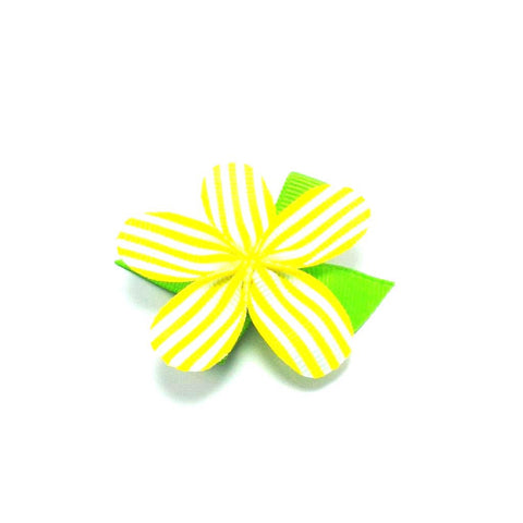 Allie Yellow and White Stripe Flower Hair Clip