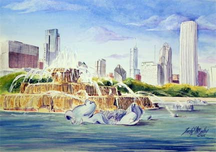 Buckingham Fountain Watercolor