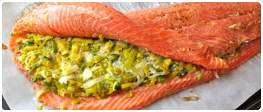 Salmon Stuffed with Leeks