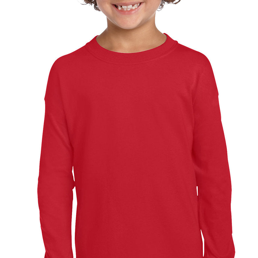 Product image of Red Gildan 2400B - Ultra Cotton Youth Long Sleeve T-Shirt