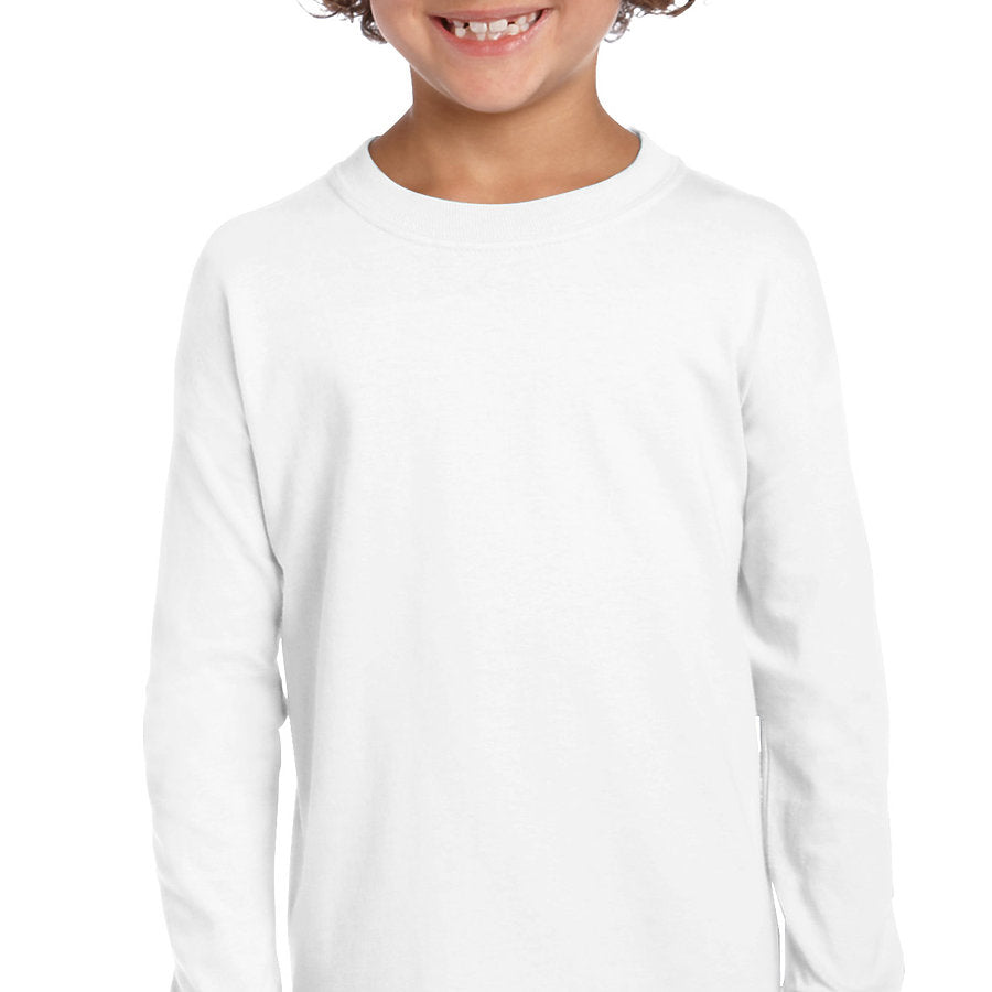 Product image of White Gildan 2400B - Ultra Cotton Youth Long Sleeve T-Shirt