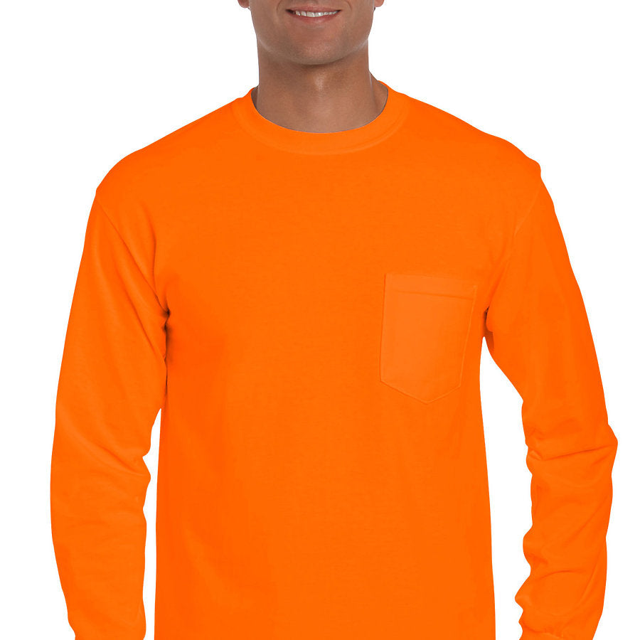 Product image of S. Orange Gildan 2410 - Adult Long Sleeve Pocket T-Shirt