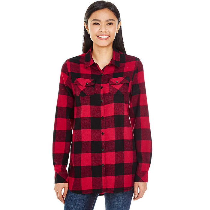 Product image of Red / Black Burnside B5210 - Ladies' Plaid Flannel Shirt
