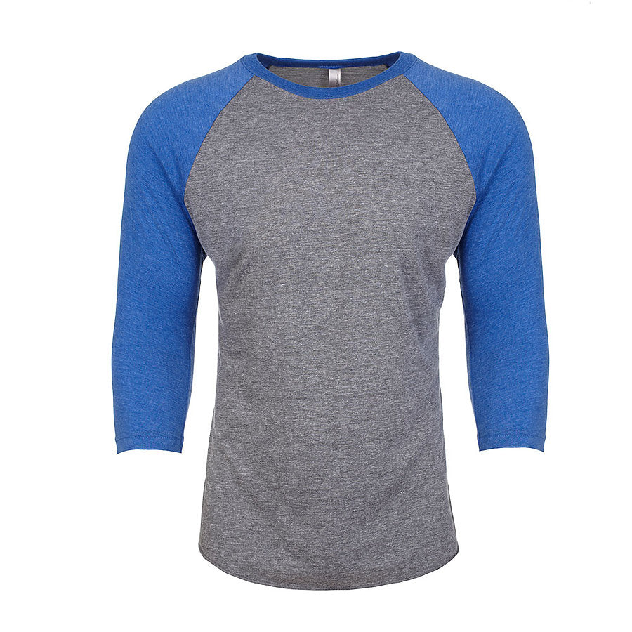 Product image of Vintage Royal/Premium Hthr Next Level Apparel 6051 - 3/4 Sleeve Raglan Tee