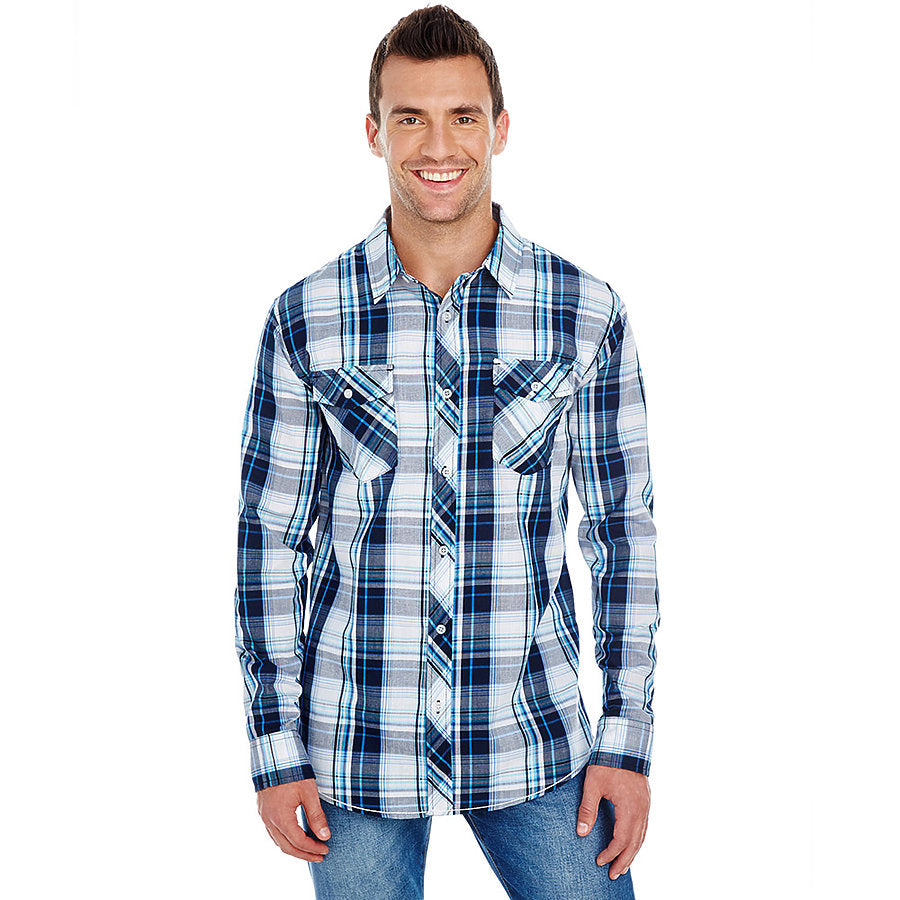 Product image of Navy Burnside B8202 - Men's Plaid Shirt