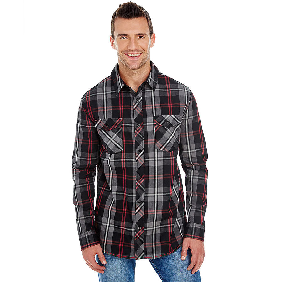 Product image of Red / Black Burnside B8202 - Men's Plaid Shirt