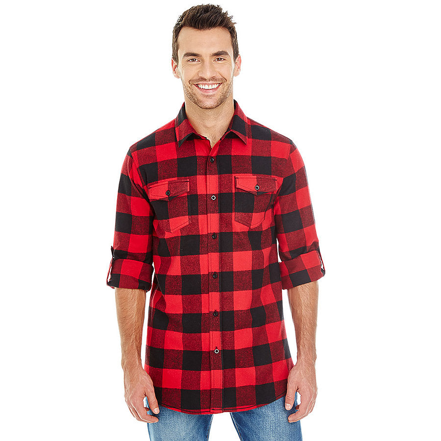 Product image of Red / Black Burnside B8210 - Men's Plaid Flannel Shirt