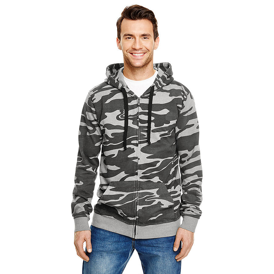 Product image of Black Camo Burnside B8615 - Men's Camo Full-Zip Hoodie