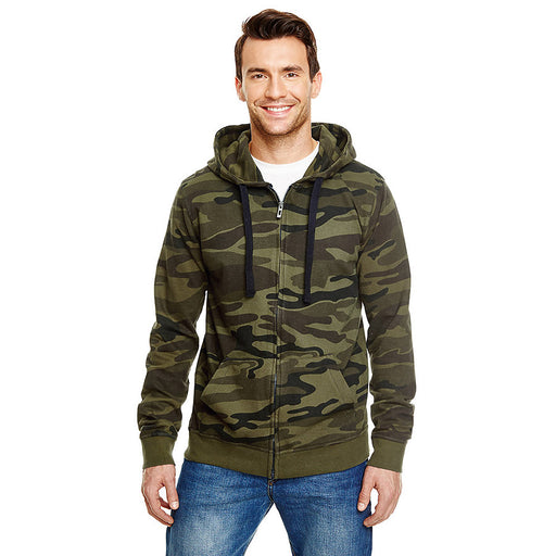 Product image of Green Camo Burnside B8615 - Men's Camouflage Full Zip Hoodie