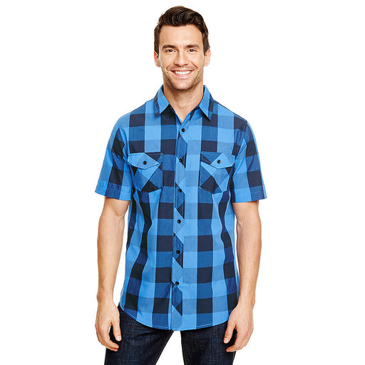 Product image of Black / Blue Burnside B9203 - Men's Short Sleeve Buffalo Plaid Shirt