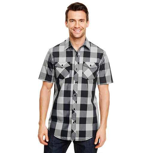 Product image of Black / White Burnside B9203 - Men's Short Sleeve Buffalo Plaid Shirt