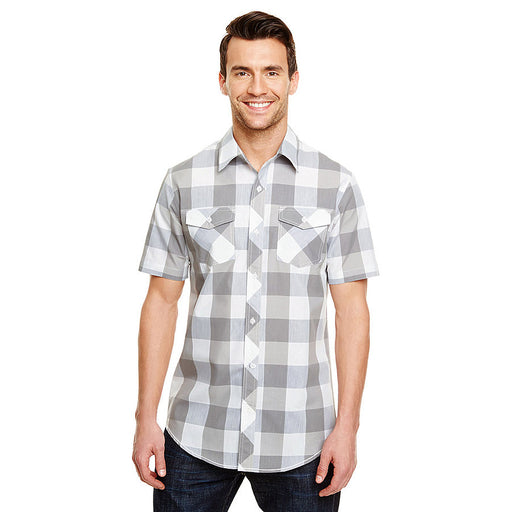 Product image of Grey / White Burnside B9203 - Men's Short Sleeve Buffalo Plaid Shirt