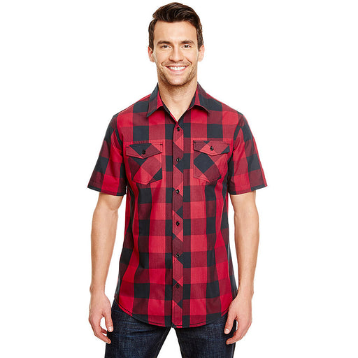 Product image of Red / Black Burnside B9203 - Men's Short Sleeve Buffalo Plaid Shirt