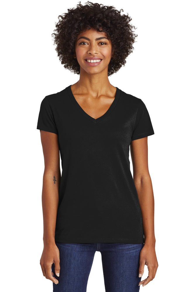 Alternative Women's Runaway Blended Jersey V-Neck Tee. AA6046 (Black)
