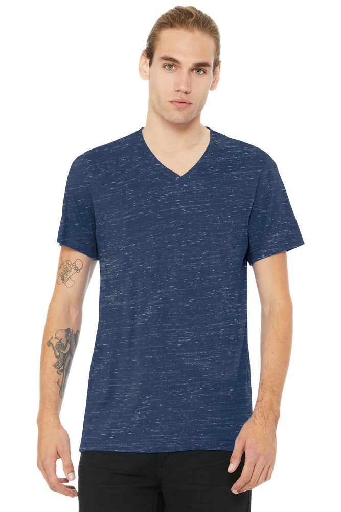 BELLA+CANVAS ® Unisex Jersey Short Sleeve V-Neck Tee. BC3005 (Navy Marble)
