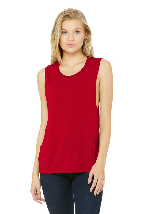 BELLA+CANVAS ® Women's Flowy Scoop Muscle Tank. BC8803 (Red)