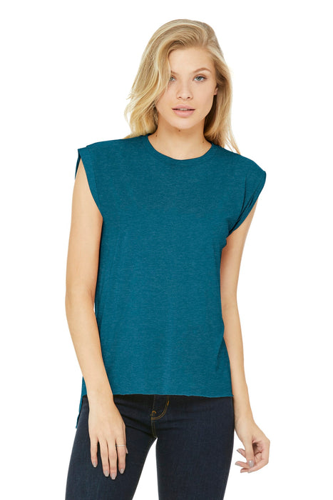 BELLA+CANVAS ® Women's Flowy Muscle Tee With Rolled Cuffs. BC8804 (Heather Deep Teal)