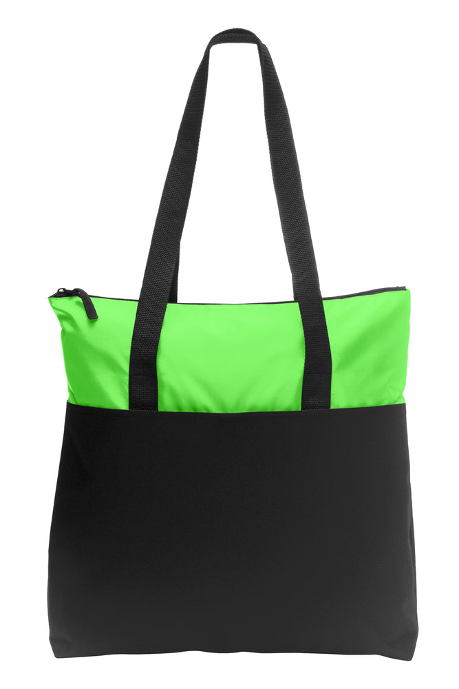 Port Authority® Zip-Top Convention Tote. BG407 (Bright Lime/Black)