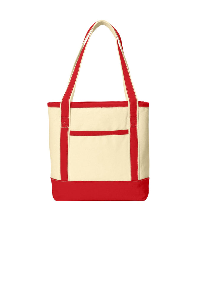 Port Authority® Medium Cotton Canvas Boat Tote. BG412 (Natural/Red)