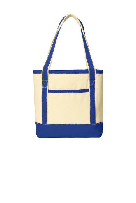 Port Authority® Medium Cotton Canvas Boat Tote. BG412 (Natural/True Royal)